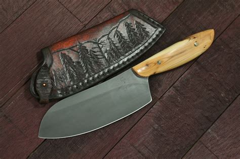 Handmade Chefs Knives - custom c chefs knife gourgeous nw yew wood