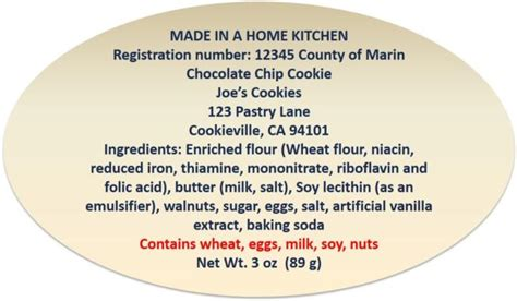 cottage food labels label requirements cottage foods
