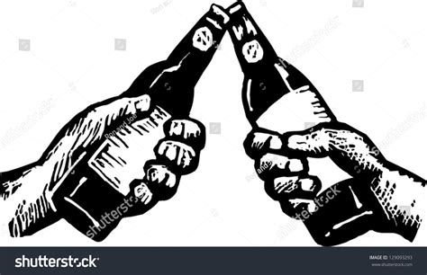 beer cartoon black and white black white vector illustration two hands stock vector