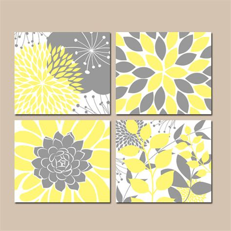 gray wall decor yellow gray wall art canvas or prints floral bedroom
