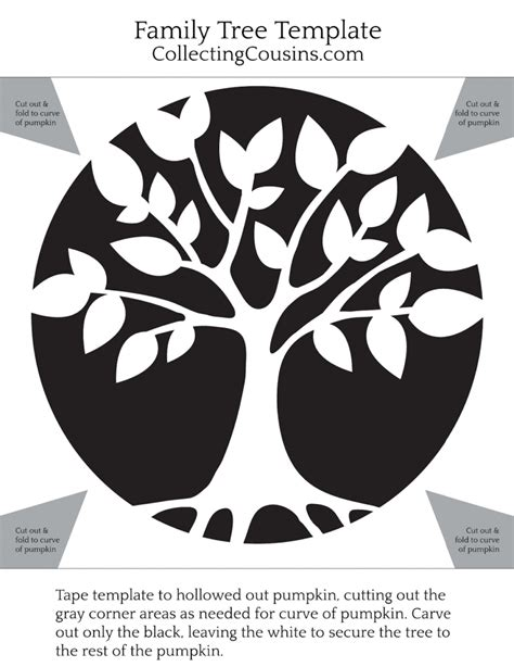 Family Tree Pumpkin Template Collecting Cousins Tree Stencil Template