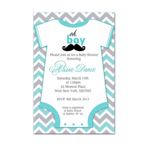 Digital Invitations Free Templates by Baby Gro Mustache Baby Shower Invitation Digital File