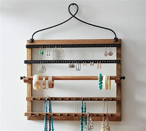 pine iron wall mounted jewelry hanger pottery barn