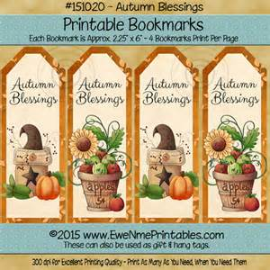 printable bookmarks pdf file autumn blessings