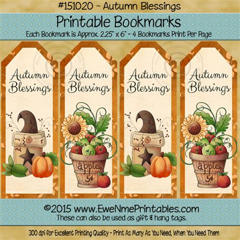 printable bookmarks fall printable bookmarks pdf file autumn blessings