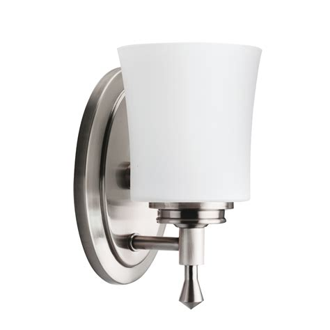 Brushed Nickel Bathroom Sconces 1 light wall sconce in brushed nickel wharton collection