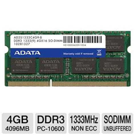 Memory Adata 4gb adata ad3s1333c4g9 r premier series notebook memory module 4gb pc3 10600 ddr3 1333mhz cl9