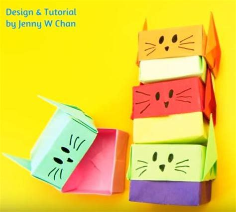Origami Cat Box - origami cat stacking paper boxes allfreepapercrafts
