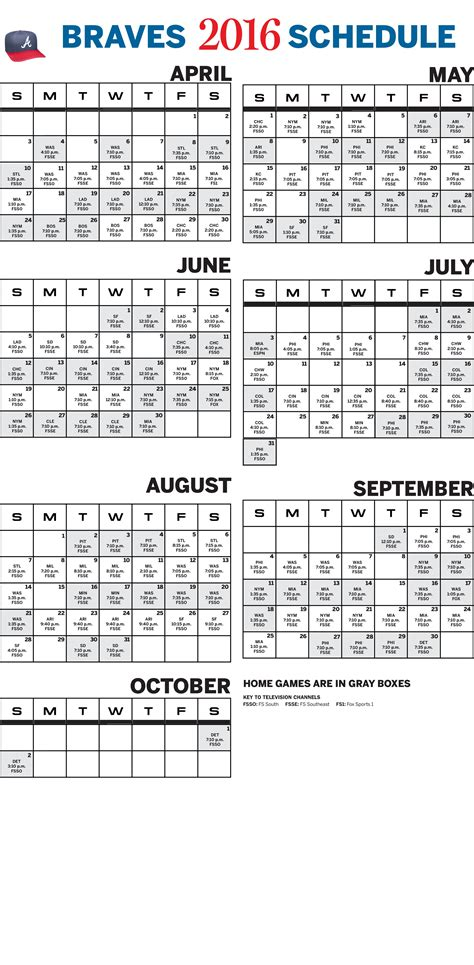 printable schedule for atlanta braves atlanta braves 2016 baseball schedule printable the