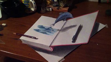 How To Make A 3d Dolphin Out Of Paper - 3d drawing jumping dolphin in the book 高校生の自主制作