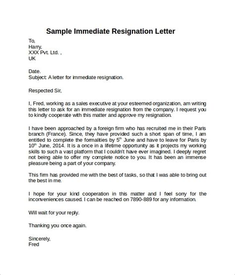 sample resignation letter short notice templates