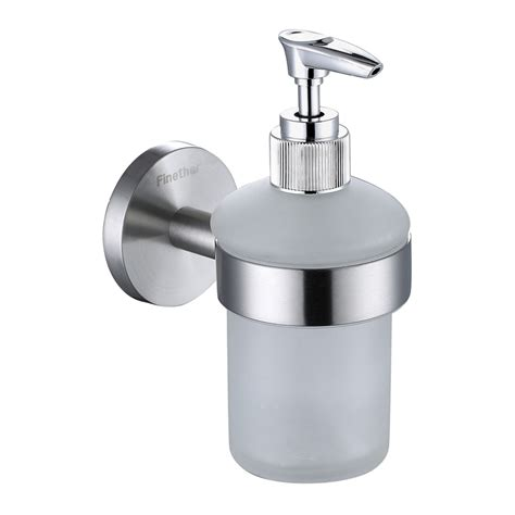 Wall Dispenser Ss finether liquid soap sanitizer dispenser 304 stainless steel wall mounted frosted glass soap