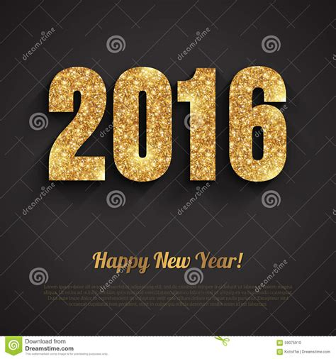 new year 14th feb 2016 happy new year 2016 golden greeting card stock vector