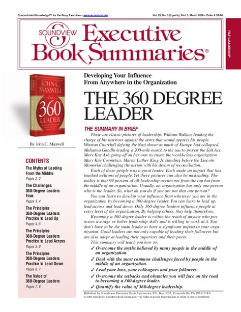 The 360 Leader C Maxwell book report 360 degree leader
