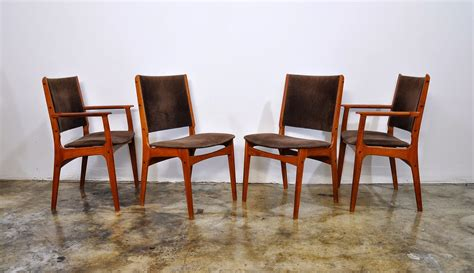 select modern set of 4 modern teak dining chairs