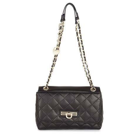 Quilted Leather Bag by Dkny Quilted Leather Shoulder Bag In Black Lyst
