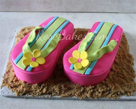 pink flip flops cake  flip flops cookies rose bakes
