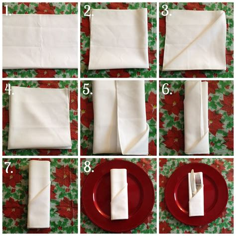 Simple Paper Napkin Folding - festive napkin folding for the holidays