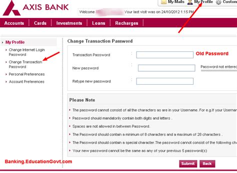 reset my online banking password online banking change axis bank transaction password