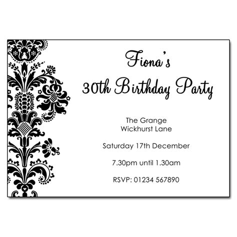 Black And White Birthday Invitation Card Template by Vintage Black White Invitations The Invitation
