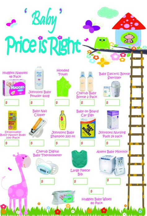 Price Is Right Baby Shower Game Free Word Unscramble 20 Pack Ebay Price Is Right Baby Shower Free Template