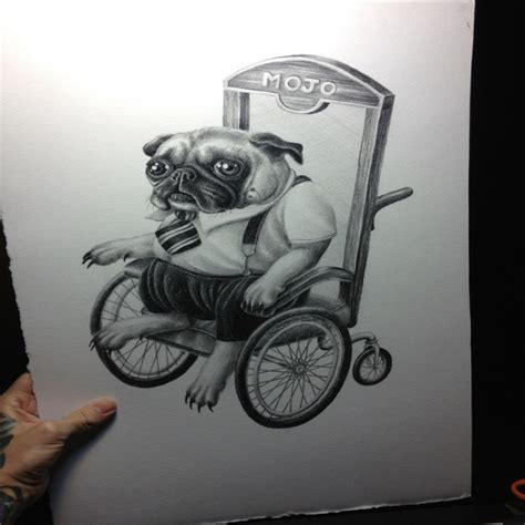 wheelchair tattoo designs grey ink bulldog bussinesman in wheelchair design