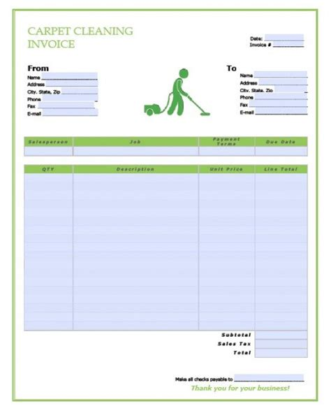 carpet cleaning invoice template hardhost info