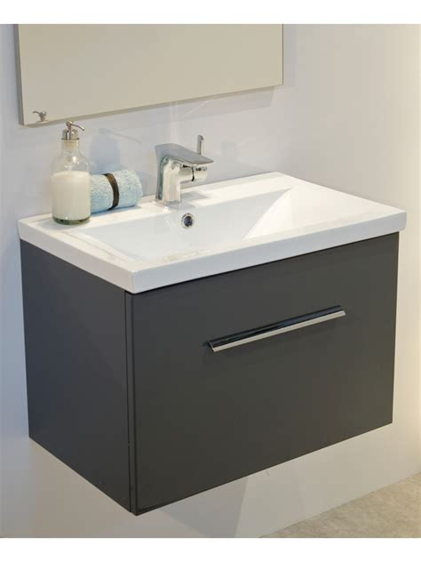 Slimline Wall Hung Vanity Unit by Vanore Antracite Slimline 50cm Wall Hung Vanity Unit