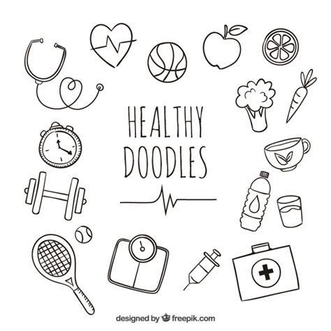 doodle food icons vector healthy doodles vector free