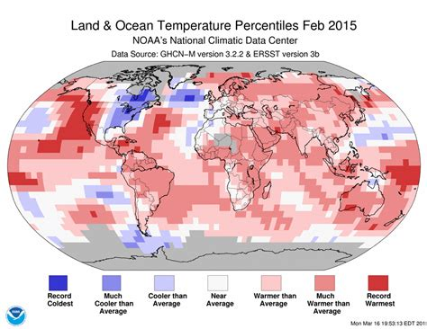 us temperature map february global climate report february 2015 state of the