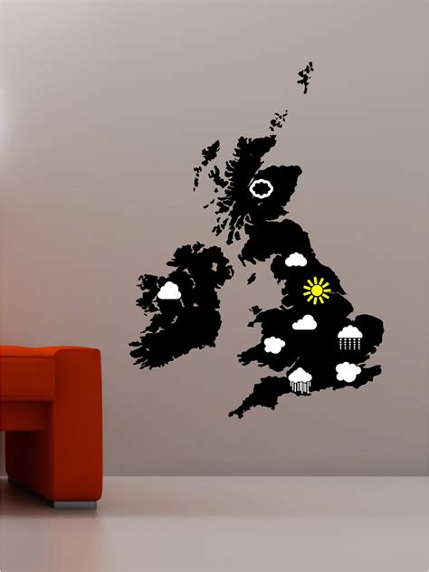 Childrens Bedroom Wall Stickers Uk weather map uk clouds amp sun wall art sticker decal kids
