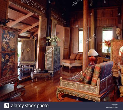 thai home decor traditional thai house with old manuscript cabinet table