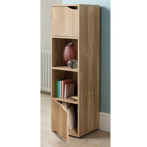 2 door 4 cube shelf solid mdf wooden display unit books