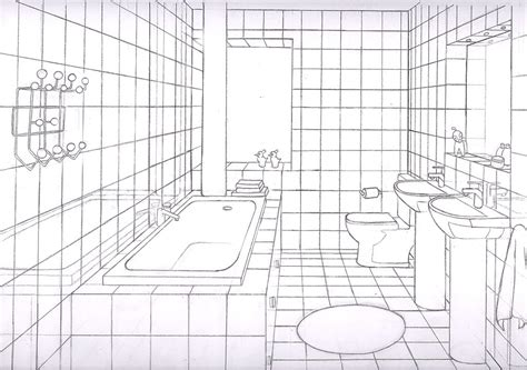 sketch of a bathroom bathroom 1 point by liquidrice on deviantart