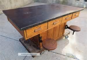 vintage oak wood chemistry lab school table kitchen island maple top post 1950 photo bitch n