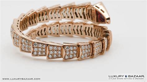Bangle Bvlgari Gold Coloured Diamonds Bangle bvlgari serpenti womens 18k gold pave rubellite small bracelet