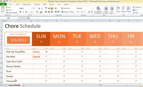 Weekly Chore Schedule Template For Excel 2013 Schedule Adherence Excel Template