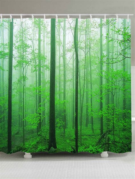 shower curtain forest waterproof foggy forest tree shower curtain green w inch