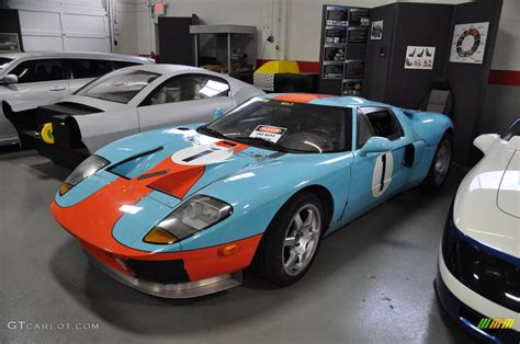 a ford gt race car in the gulf blue orange racing colors gtcarlot