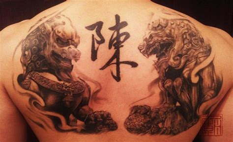 chinese temple tattoo designs guardian lions get a modern style in this