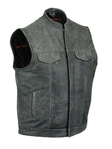 Premium Vest Zipper Harley Davidson 3 zipper front distressed gray leather motorcycle vest for