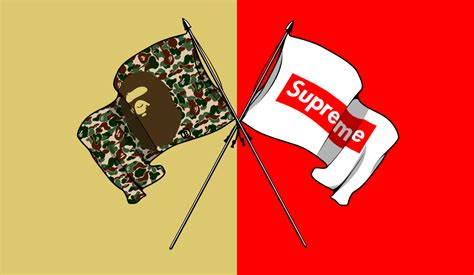 Supreme X Bape streetwear battle between wearers of bape and supreme