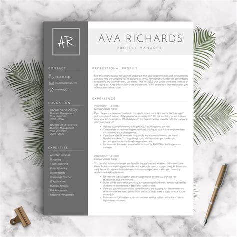 Modern Resume Template Word by Modern Resume Template For Word And Pages 1 3 Pages Cover