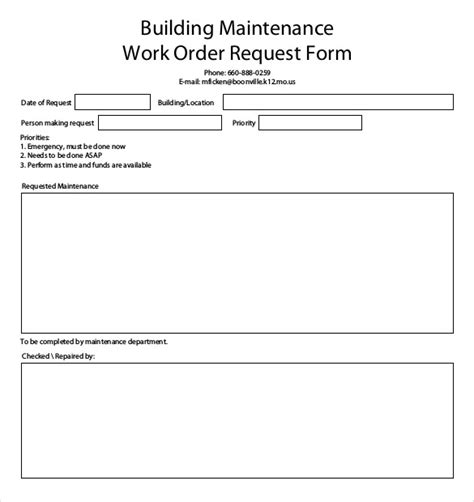 maintenance work order template labour charges forms contractor
