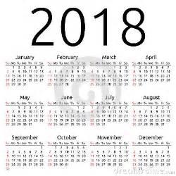 Kalendarz Ze świętami Na 2018 Rok Wektoru Kalendarz 2018 Niedziela Ilustracja Wektor