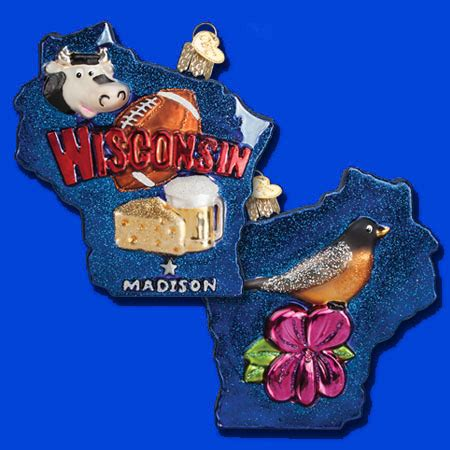 state of wisconsin glass ornament by old world christmas