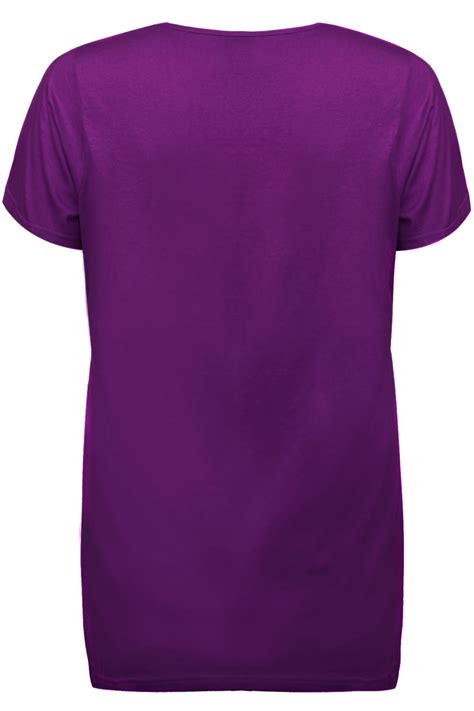 T Shirt 31 4 purple plain basic sleeved v neck t shirt plus size