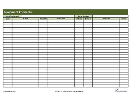 Best Photos Of Employee Equipment Check Out Form Equipment Check Out Sheet Template Equipment Inventory Check Out Sheet Template