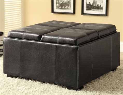 Black Leather Ottomans Coaster 500876 Black Leather Ottoman A Sofa Furniture Outlet Los Angeles Ca