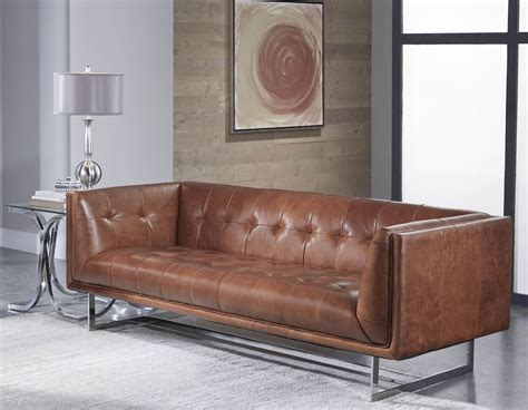 teague cognac leather sofa from lazzaro wh 1440 30 9027